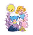 cute mermaids fairy tales vector image vector image