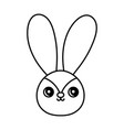 cute rabbit head character on white background vector image vector image