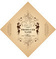 diamond shaped wine label with ornate pattern vector image vector image