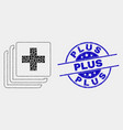 dotted medical data icon and scratched plus vector image vector image