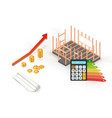 energy efficiency house construction with vector image vector image