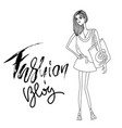 fashion blog lettering modern abstract girl with vector image vector image