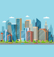 flat downtown skyscrapers exterior modern vector image