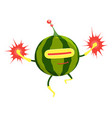 funny cartoon superhero watermelon character vector image