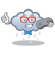gamer rain cloud character cartoon