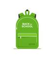 green school bag backpack flat vector image