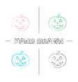 halloween pumpkin hand drawn icons set vector image