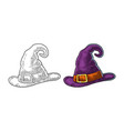 halloween witch hat with buckle engraving vector image