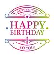 Happy Birthday Emblem vector image vector image