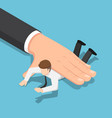 isometric big hand pushing businessman down on vector image vector image