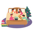 kids opening christmas presents in pajamas while vector image