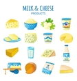 Milk And Cheese Icons Set vector image