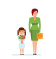 mom and daughter with bouquet and backpack vector image