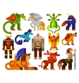 Mythical creatures icons vector image