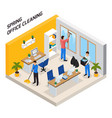 office cleaning isometric composition vector image vector image