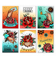 old school tattoo cards vector image vector image