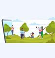 people using cellphones mix race men women walking vector image vector image