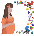 Profile of pregnant woman and toys vector image vector image