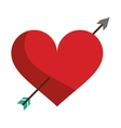 red heart with arrow love symbol vector image vector image
