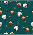 seamless pattern with skulls hearts and flowers vector image