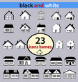 set of black and white houses vector image vector image