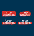 set of discrimination racism and harassment label vector image vector image