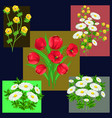set of floral bouquets vector image