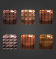Set of shiny chocolate square button vector image vector image