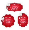 Set of three festive Christmas coupon labels red vector image vector image