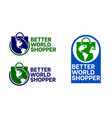 shopping bags and globe vector image
