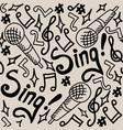 sing seamless pattern monochrome vector image