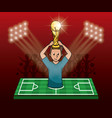 soccer player on camp field vector image vector image