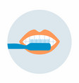 toothbrush with mouth in circle vector image