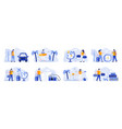 travel vacation scenes bundle with people vector image