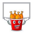 up board character bucket chicken fried fast food vector image