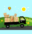 van with parcels on rural road landscape natural vector image vector image
