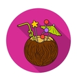 Coconut cocktail icon in flat style isolated on vector image