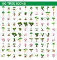 100 tree icons set cartoon style vector image vector image