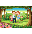 A family at the woods vector image vector image