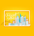 around world travel concept with white frame vector image vector image