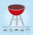 barbecue grill family summer picnic vector image vector image