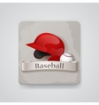 Baseball helmet and baseball icon vector image vector image