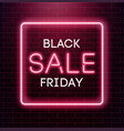 black friday sale neon background black weekend vector image vector image