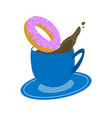 blue cup of coffee with donut on white background vector image vector image