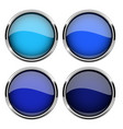 blue glass buttons with metal frame set of shiny vector image vector image
