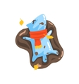 Blue Jelly Zombie Dog Monster Rolling In Puddle Of