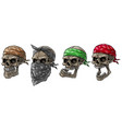 cartoon biker skulls with bandana and scarf vector image