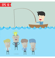 Cartoon businessman catching idea in the sea - vector image vector image