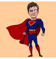 Cartoon man in a suit of Superman vector image