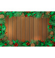 christmas horizontal wooden background with vector image